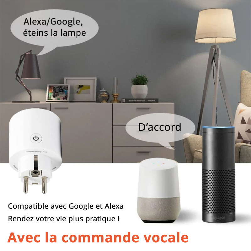 Prise connectée - Compatible Google Home et Amazon Alexa